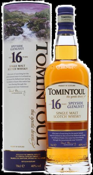 Tomintoul 16 Years Speyside Single Malt Scotch Whisky Fles 70 Cl.